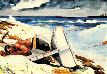 After the Hurricane F - art, ocean, beautiful, illustration, lake, artwork, Homer, boat, painting, wide screen, waterscape, river, Winslow Homer