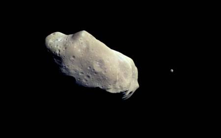 An Asteroid and a Moon - Moons, Universe, Space, Asteroids, Rocks