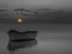 boat,sea,moon, night,