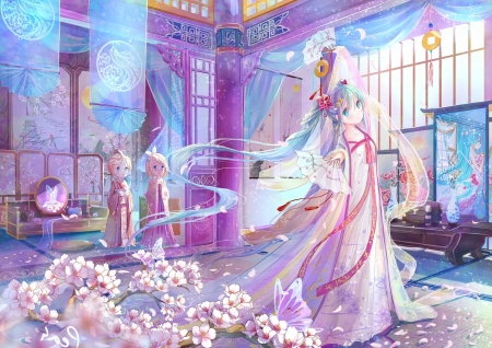 前世今生-前生 - pretty, adorable, sweet, cherry blossom, nice, japan, yukata, anime, beauty, anime girl, kagamine len, twins, vocaloids, long hair, sakura, lovely, japanese, twintail, miku, cute, hatsune, fan, cherry, len, dress, hatsune miku, sakura blossom, beautiful, twin, twin tail, kagamine, pink, vocaloid, female, kagamine rin, twintails, kimono, twin tails, kawaii, girl, blue hair, rin, petals, miku hatsune, aqua hair