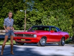 Cowgirl and her '70 Hemi-Cuda Convertible