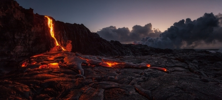 Lava - ground, natural disaster, soil, volcano, heat, mountain, night time, Lava, hot, nature, earth