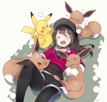 Pokemon go - pokemon go, pokemon, girl, anime girl, cute, anime, happy