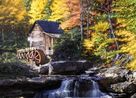 Glowing Autumn - forest, watermill, mill, painting, creek, trees, artwork