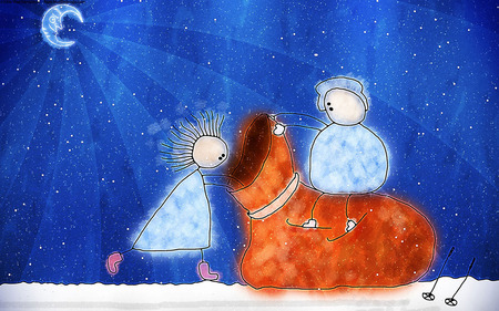 Santa's Bag - widescreen, holidays, christmas, wds, x-mas, xmas, winter, cold, santa, merry christmas, girl, little girl, crescent, blue