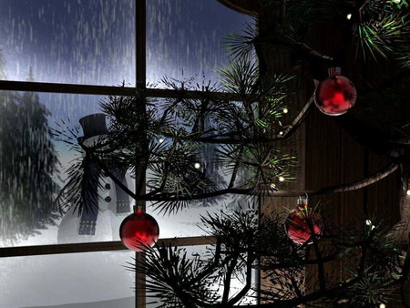 Christmas Night - snowman, christmas, cold, merry christmas, winter, xmas, x-mas, holidays, love, feast
