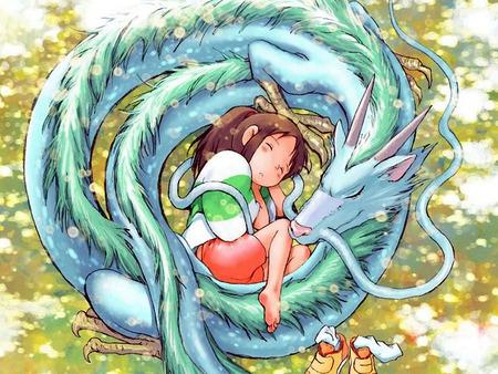 Spirited Away - haku, spirits, anime, dragon, chihiro