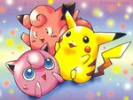 pikachu, clefairy, and jigglypuff
