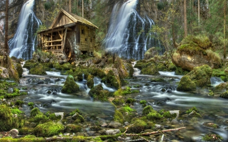 waterfall by a cabin mill - forest, cool, waterfall, nature, fun