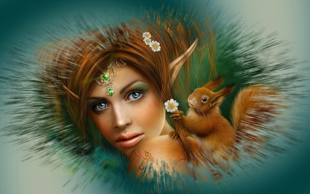 Girl and Squirl - pretty, art, squirl, beautiful, woman, sweet, fantasy, girl, digital