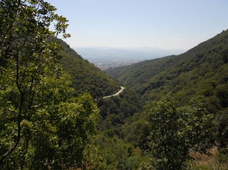 View from top - forest, markovo kale, vranje, tree, mountains, fortress, nature, river, road