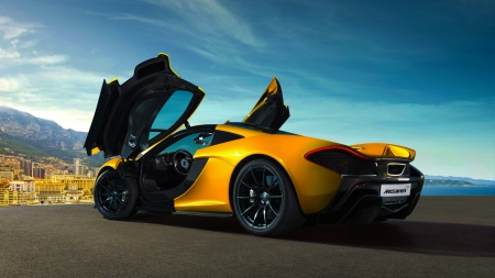 McLaren - cars, side view, vehicles, yellow cars, road, McLaren