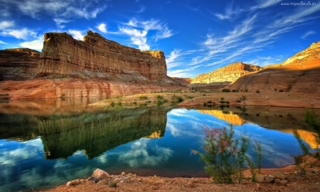 Canyonland, Utah - water, sky, clouds, mountains, reflection