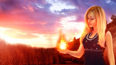 ~ Feel the Fire ~ - sun, corn field, blonde, sunset, magic, trees, abstract, sky, woman, clouds, fire, fantasy, flame, girl, SkyPhoenixX1, nature