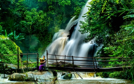 Waterfall Near Cheng Mai, Thailand - waterfall, nature, model, thailand