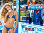 SI Model ~ Nina Agdal Having an Ice Cream Cone