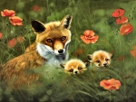 Fox Mother and Kits F