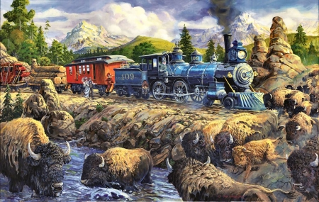 Delaying the Iron Horse F - railroad, art, locomotive, bison, buffalo, beautiful, iron horse, illustration, artwork, train, engine, painting, tracks
