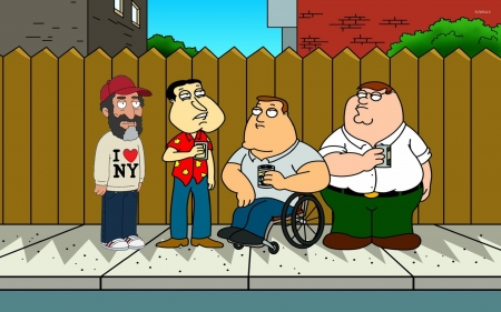 family guy - family, men, guy, fence