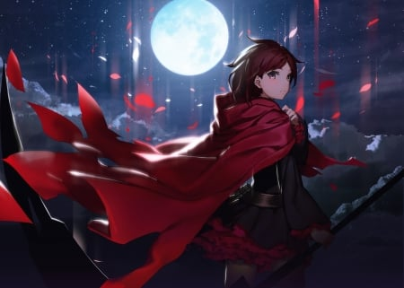 Ruby Rose - red, pretty, rose, ruby rose, beautiful, magic, mantle, sweet, nice, moon, anime, cape, beauty, anime girl, star, light, fantsy, night, female, lovely, ruby, rwby, sky, short hair, girl, dark, scene, maiden