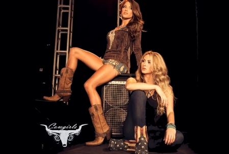 Stage Hand Cowgirls.. - female, models, cowgirl, boots, fun, women, brunettes, stage, girls, fashion, blondes, western, style