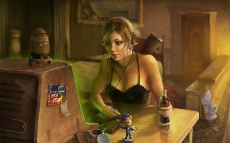 Sexy Gamer Girl: Retro - little black dress, nightie, sexy, retro, girl, gamer, painting, computer, negligee