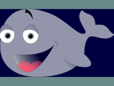 Cute Whale 1 - Fish, Gray, Swim, Ocean, Funny, Sea, Cute, Water, Whale