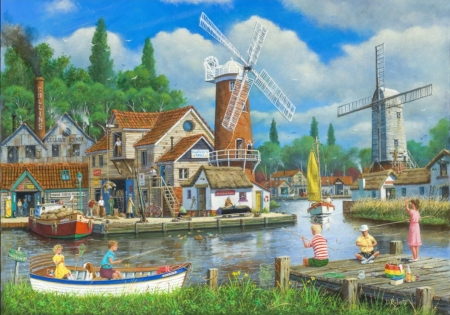 Fishing village - windmill, water, Boats, people