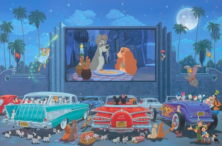 A night at the movies - cars, fantasy, cartoon, dogs