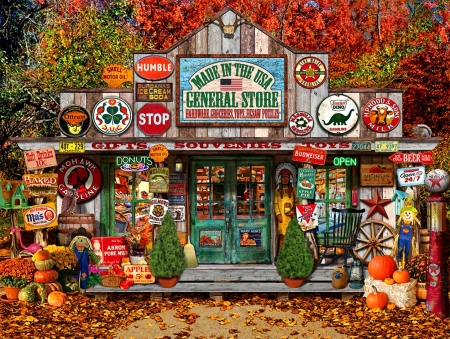 Autumn General Store F1 - architecture, art, cityscape, beautiful, artwork, clutter, painting, wide screen, store, scenery, pumpkins
