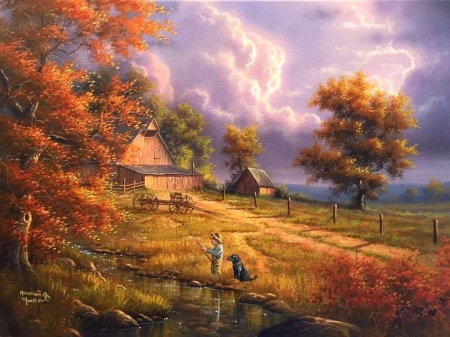 Colorful Fun in Fall - colorful, fall season, autumn, love four seasons, attractions in dreams, sky, clouds, boy, paintings, nature, fields, streams, dog