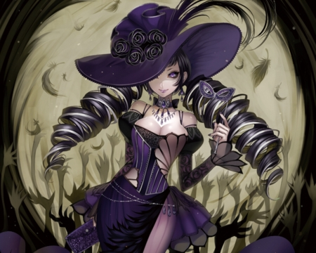 Purple - dress, adore, beautiful, twin tail, gothic, anime, hot, beauty, anime girl, long hair, gorgeous, female, twintail, gown, amour, lolita, twintails, sexy, twin tails, hat, girl, purple, lady, maiden