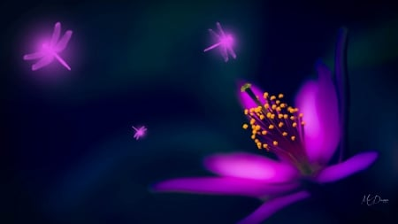 Glow Lily and Dragonflies - glow, dragonflies, bright, flowers, lily, neon, abstract
