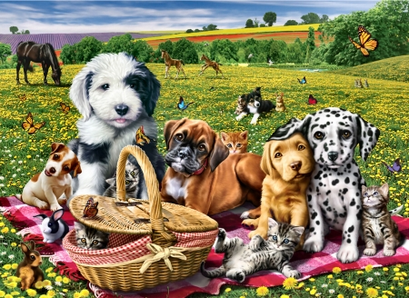 Pals Picnic F - dalmation, cocker spaniel, equine, beautiful, artwork, canine, animal, sheepdog, painting, wide screen, art, butterflies, pets, horse, terrier, boxer, feline, basket, cats, dogs
