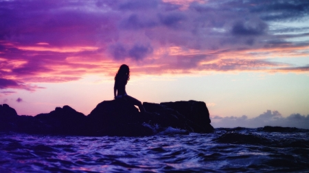 Mermaid - nature, sky, ocean, dark