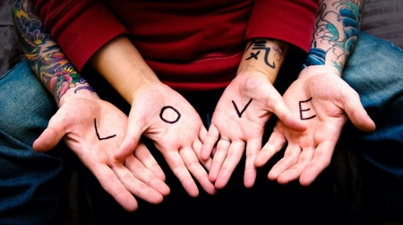 Love - red, tattoo, love, hand, word, card