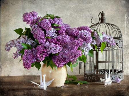 Freedom - table, birdcage, vase, lilacs, paper birds