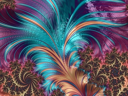 A Feather to Tickle your Fancy - Fractal, Beautiful Colors, Alluring, Vivid, Vibrant