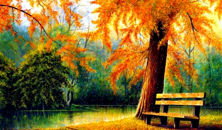 Nice painting of nature - leaves, trees, green, wood
