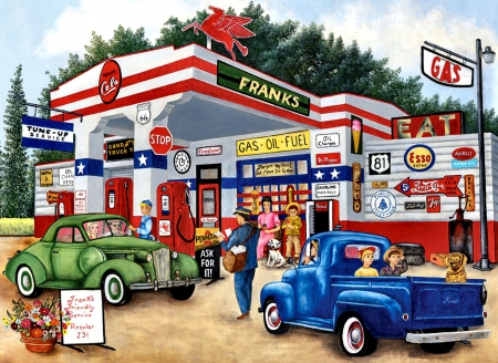 Frank's Friendly Service F - architecture, art, gasoline, cityscape, beautiful, artwork, pumps, painting, wide screen, scenery, service station