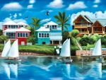 Vacation Waterfront With Sailboats F