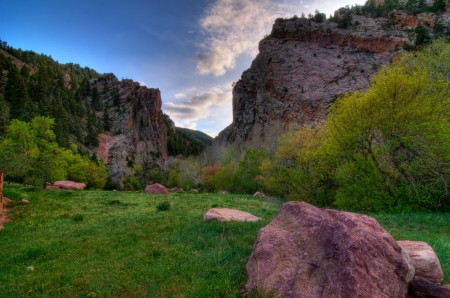 Boulder Canyon, Colorado - stones, usa, mountains, trees, clouds, sky