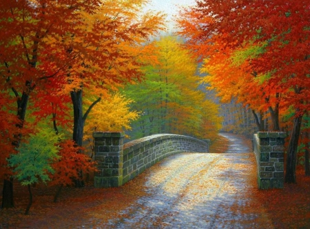 Autumn Tranquility - fall, leaves, bridge, painting, colors, trees, artwork