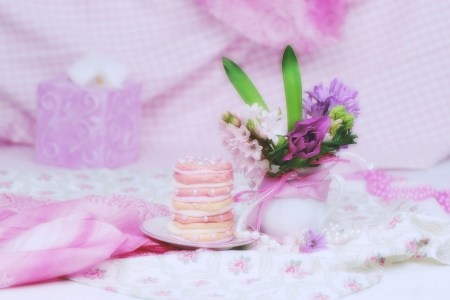 Still life - still life, pink flowers, purple, sweets, biscuits