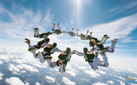 jumping - erth, jumping, skydiving, clouds, sky