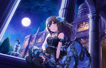 Fumika Sagisawa - dress, cg, manga, game, cinderella, moon, girl, idolmaster, anime, long hair, night