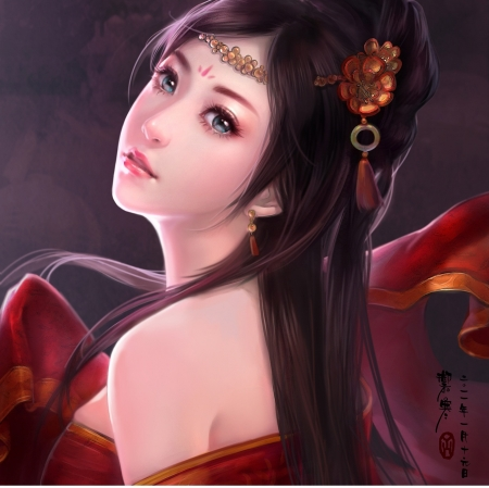 Diao Chan - pretty, video game, game, beautiful, dynasty warriors, elegant, sweet, nice, hot, beauty, realistic, long hair, gorgeous, diao chan, female, lovely, black, sexy, girl, oriental, chinese