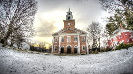 church in fisheye hdr - fisheye, hdr, church, winter