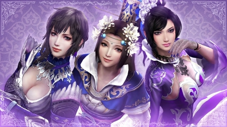 Dynasty Warriors - lilac, frumusete, luminos, game, woman, dynasty warriors, girl, trio, beauty, pink, blue