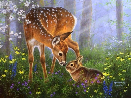 Forest Friends - rabbit, love four seasons, spring, attractions in dreams, deer, paintings, summer, flowers, nature, forests, animals